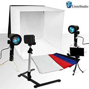 "LimoStudio Photography Table Top Photo Light Tent Kit, 16"" Photo Light Box, Continous Lighting Kit, Camera Tripod & Cell Phone Holder AGG1066"