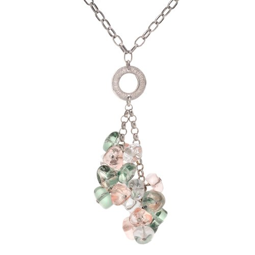 Sterling Silver Gray, Pink and White Murano Glass Drop Necklace, 18