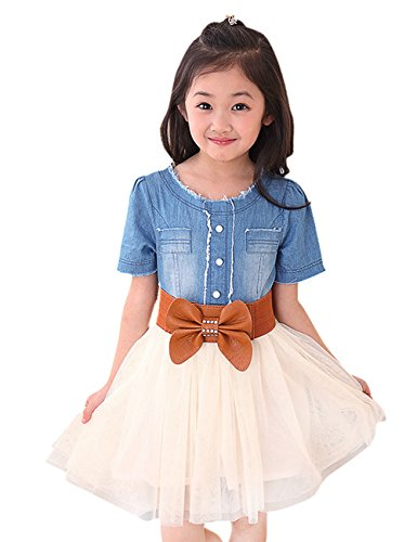 YJ.GWL Girls' Casual Dress Denim Bow Lace Dress Summer Dress(Light blue,150) (10 Year Old Girl Clothes compare prices)
