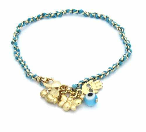 Braided Turquoise and Gold Cord Hamsa/Hand of Fatima Bracelet with Evil Eye