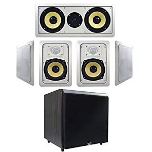 "5-Piece 5.25"" (HD525) HD In-Wall Speaker System w/1000W Black 15"" Powered HD Home Subwoofer (5.1)"