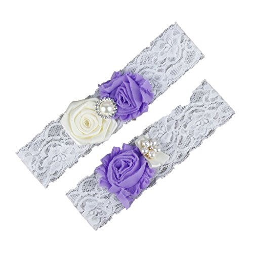 CLOCOLOR Women's Pearl Lace 2 Piece Set Bridal Wedding Garter with Purple Flower