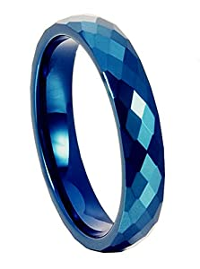 King Will 6mm Blue Diamond Faceted Polished Domed Tungsten Carbide Ring Wedding Band(10)