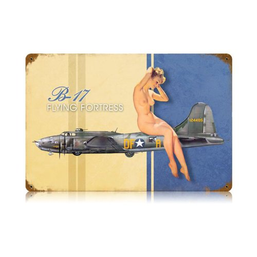 B-17 Flying Fortress Nude Pinup Model Vintage Metal Sign 18 X 12 Steel Not Tin