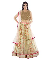 Z Fashion Fogg Printed Beige Color Semi-Stitched Gorgette & Net Lehenga with Beige Net Dupatta & Gold Blouse Piece