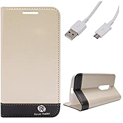 DMG Motorola Moto G 3rd Gen Flip Cover, DMG PRaiders Premium Magnetic Wallet Stand Cover Case for Motorola Moto G 3rd Gen (White) + Micro USB Data Cable
