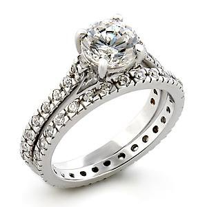 Isady - Azénie - Ladies Ring - White Gold plated Rhodium Bonded - Duo solitaire + Eternity - Cubic Zirconia