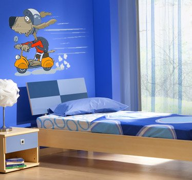 Imagen 1 de Tenvinilo - Vinilo Infantil Perrito con Scooter - Talla : 50 x 30