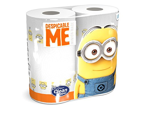 Clean Paper Asciugatutto Minion - 1 Pacco da 2 Rotoli da 100 Strappi