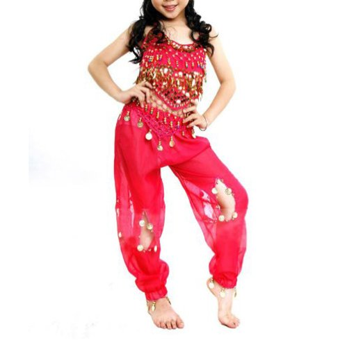 BellyLady Children Tribal Belly Dance Costume, Harem Pants & Top Sets, Rose red