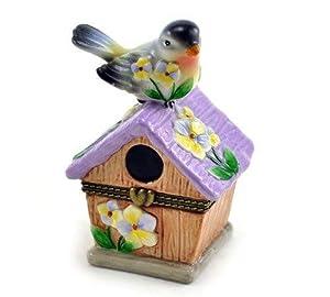 Bird Perched on Purple Floral Birdhouse Porcelain Hinged Trinket Box