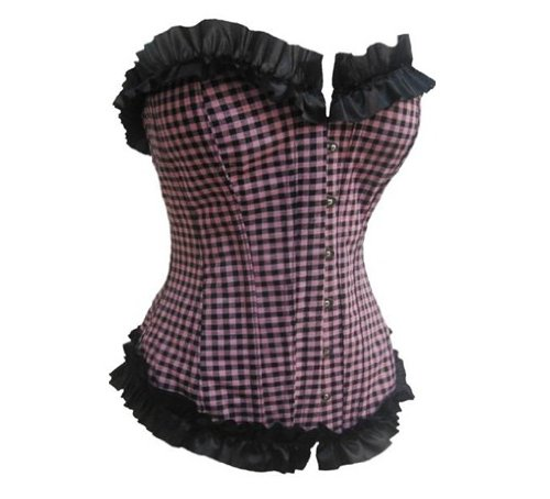Pink & Black Checkerboard Fashion Corset With Lace Trim L