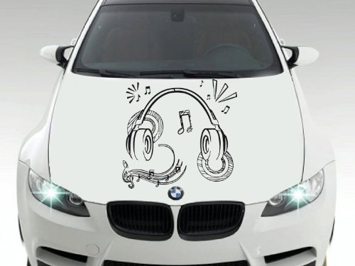 Car Hood Vinyl Sticker Auto Decals Headphones And Music Notes Ab1530