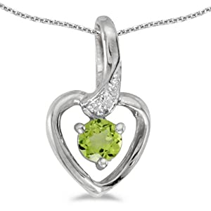 14k White Gold Round Peridot And Diamond Heart Pendant with 18