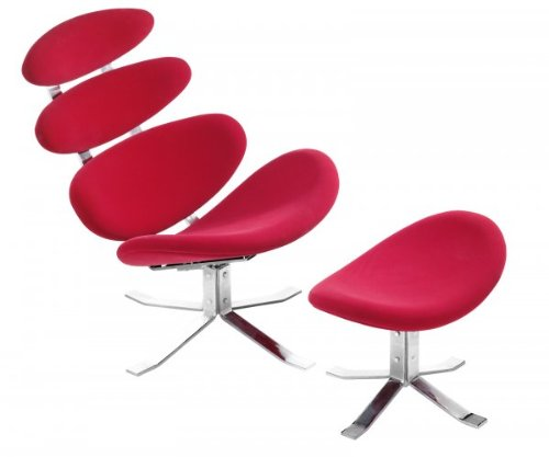 Petal Lounge Chair and Ottoman - Red Red  37 H x 32 5 W x 33 DB001D5JET4