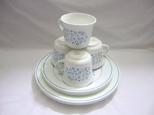Set of 12 - Vintage 1970 Corning Ware Corelle BLUE HEATHER - 4 Dinner Plates, 4 Luncheon Plates and 4 Cups