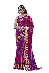 AASRI Women Magenta Cotton Blend Printed Work Saree