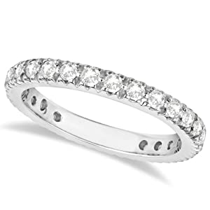 SI1-2 Clarity G-H Color Diamond Eternity Ring Band For Women 14K White Gold (0.75ct)