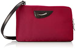 Tusk Gotham Gloss Double Zip Cross Body Bag, Raspberry, One Size