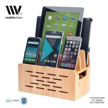 MobileVision Bamboo Charging Station w/ Cutout for Bluetooth Portable Wireless Speaker and Docking Stand use w/ DKnight MagicBox, Anker Classic & more