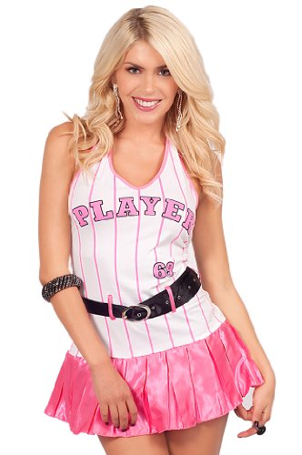 Halter V-Neck Baseball Girl Player Striped Mini Dress Skirt Halloween Costume
