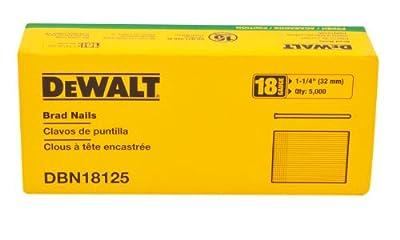 DEWALT DBN18125 Heavy Duty 18 Gauge, 1-1/4-Inch Brad Nail (5000-Pack)