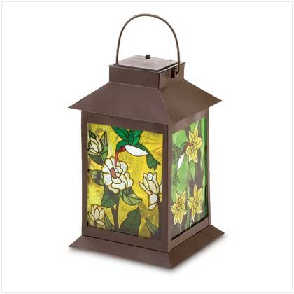 B008YQ50RK Gifts & Decor Stained Glass Light Solar Powered Floral Garden Lantern