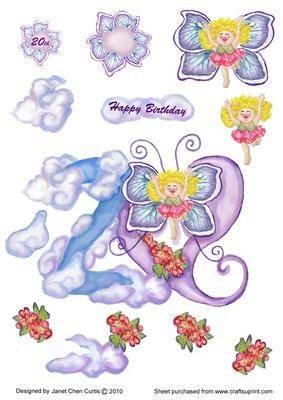 20th Geburtstagskarte Schmetterlingsfee weder im weder im von Janet Chen Curtis