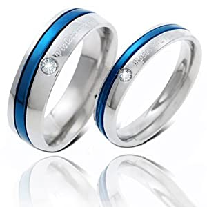 Geminis New Fashion Silver&blue Line w/ Cz Stone 316 L Stainless Steel Titanium Wedding Band Anniversary/engagement/promise/couple Ring Best Gift! (The Lady's Ring, 8)