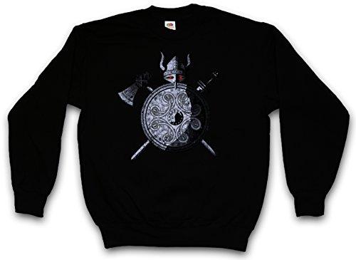 VIKING WARRIOR PULLOVER SWEATER SWEATSHIRT MAGLIONE - Viking Ragnarök norvegese Scandinave Loki Sword Shield Celtic Triskel Thor Odin Shirt Taglie S - 5XL