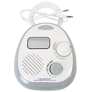 GSI Quality Multi-Function Waterproof AM/FM Bath And Shower Radio With Alarm Clock - Line-In Aux For iPod And Mp3 Player Speaker