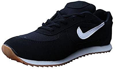 Port Comex Sports PU Black Marathon Running Shoes