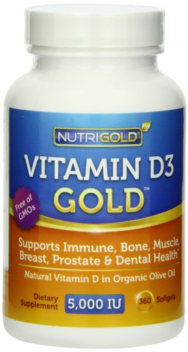 Nutrigold Vitamin D3 5000 IU, 360 Mini Softgels (GMO-free, Preservative-free, Soy-free, USP Grade Natural Vitamin D in Organic Olive Oil)