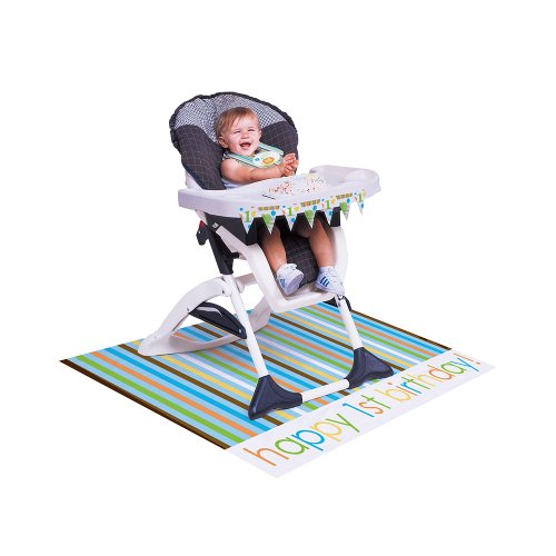 Creative Converting Sweet at One Boys High Chair Birthday Kit, 3-Piece
