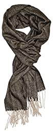 Ted and Jack - Timeless Cashmere Feel Herringbone Pattern Scarf in Chocolate Brown with Tan Fringe