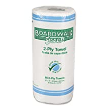 "Boardwalk 21 Green Seal Kitchen Paper Towel Roll, 2-Ply, 9"" Width x 11"" Length, White, 90 Sheets per Roll (Pack of 30)"