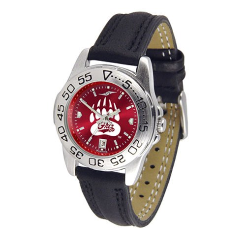 Suntime Montana Grizzlies Ncaa Anochrome Sport Ladies Watch Leather Band