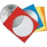 Ednet Papierhülle mit Sichtfenster für CD/DVD verschiedene Farben, rot, blau, gelb, orange 100 Stück