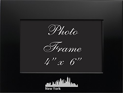 NYC, New York-4x6 Brushed Metal Picture Frame-Black (New York Picture Frame compare prices)