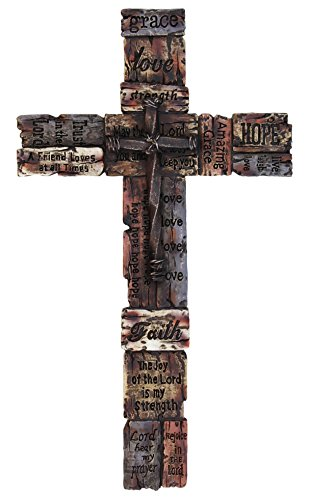Beautiful Wall Cross with Inspirational Sayings, Realistic Wood Texture with Faux Iron Cross in Center