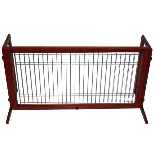 "Pawhut Wood Small Freestanding Pet / Dog Gate Fence - Adjustable 21.5"" To 36.5"" front-313261"