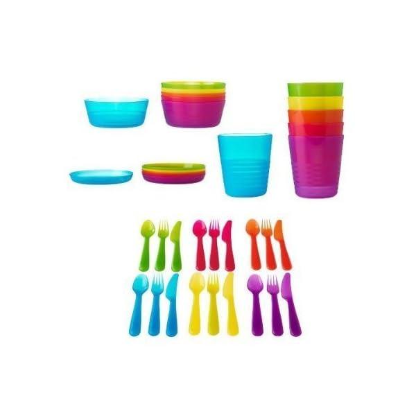 Ikea Kalas Kids Plastic BPA Free Flatware, Bowl, Plate, Tumbler Set,  Colorful