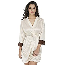 Klamotten Beige Satin Robe with Lace X209_Cream