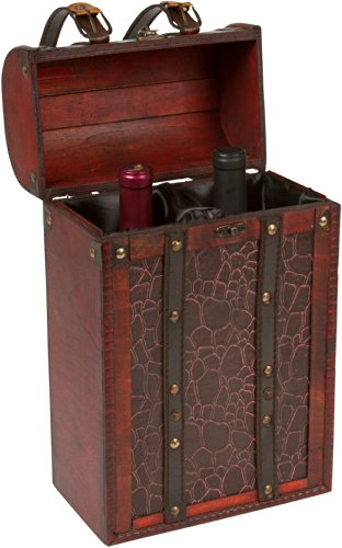Treasure Chest Wine Box - Wooden for 2 Wine Bottles - By Trademark Innovations (Treasure Chest Basket compare prices)