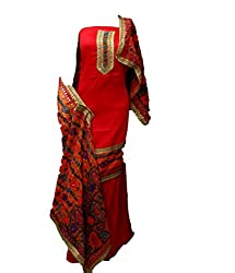 Lov Kush Unstiched Salwar Suit (Red)-Unique Wedding Collection