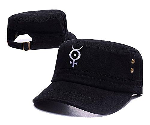 [Jeffrey Marilyn Manson ROCK Logo Embroidery Leisure Flat Hat Unisex Fitted Cap] (Mobscene Costume)