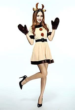 VEROMAN クリスマス トナカイ コスプレ 衣装 レディース (4点セット トナカイのカチューシャ+ワンピース+ベルト+手袋)