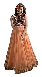 RK Fab Women's Net Unstitched Dress (Orange)