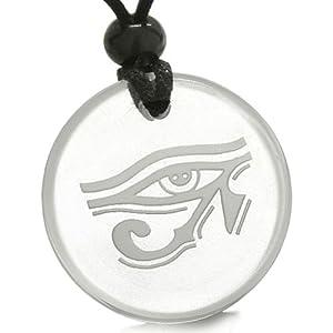 Amulet All Seeing Eye of Horus Egyptian Magic Crystal Quartz Pendant
