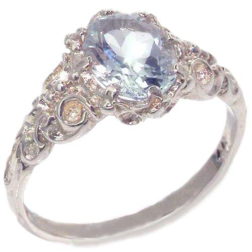 英国製 925 シルバー 天然 1カラット アクアマリン 装飾 デザイン アンティークスタイル  一粒石 ソリティア  リング 指輪 サイズ 19 各種サイズあり